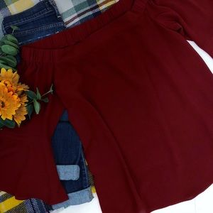 NY Collection Peasant Blouse Bell Sleeves Maroon L